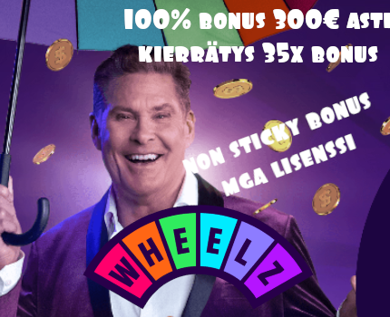 wheelz casino 100% non sticky bonus verovapailla voitoilla
