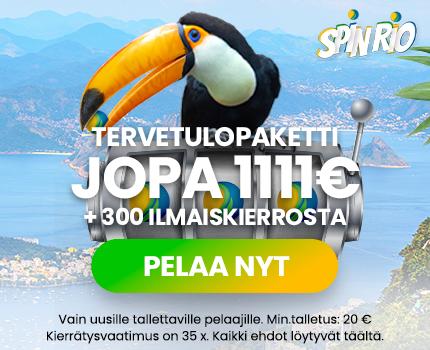 Spinrio casino tarjoaa 100% kasinobonuksen